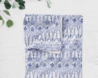Organic Cotton Jersey Knit Baby Blanket - Tribal Feathers Indigo Blue, Modern Boho Style Nursery | Ready to Ship