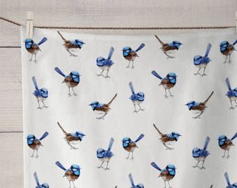 Linen Tea Towels, Blue Wrens. Custom Printed in Australia. Handmade to Order - Ships in 2-3 weeks | Illustration by Thistle and Fox