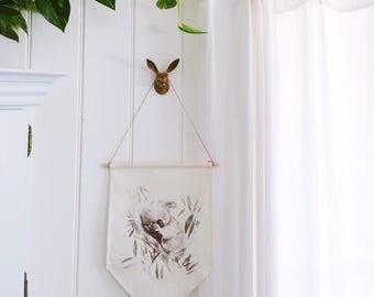 Sleepy Koala Wall Banner, modern Australiana nursery decor, linen wall hanging, koala flag. Australian animal nursery banner. Ready to Ship