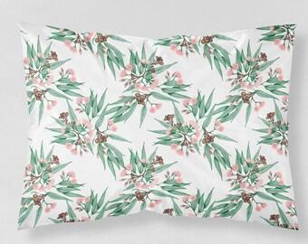 Australian Botanical Pillowcase Gum Blossom Native Flora | Choose from Organic Cotton Sateen or Standard Cotton Sateen. Handmade to Order