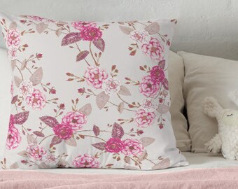 Boho Rose Cushion Cover. Ready to Ship. Magenta Plum Grey Linen Cotton 40cm Square Throw Pillow. Natural Linen Reverse. Invisible Zip