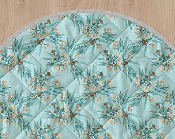 Australiana Play Mat Gumnuts Blue and Peach Flowering Eucalyptus Botanical Cot Quilt Circle Tummy Time Rug/ Linen Cotton | Ships in 4-6 wks