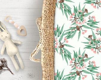 Australian Native Flora Cot Sheets Soft Pink & Green Gumnuts Eucalyptus | Fitted Cot Sheet Bassinet Sheet | Kona Cotton or Organic Cotton