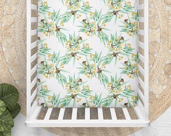 Bassinet or Cot Sheet in Yellow Gum Blossom Flowering Eucalyptus | Watercolour Botanical Floral | Choose Kona Cotton or Organic Cotton