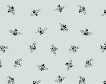 Little Black Bee on Soft Grey Printed Cotton Fabric by the yard illustrated by Thistle and Fox | Ships from USA, Free Ship Worldwide