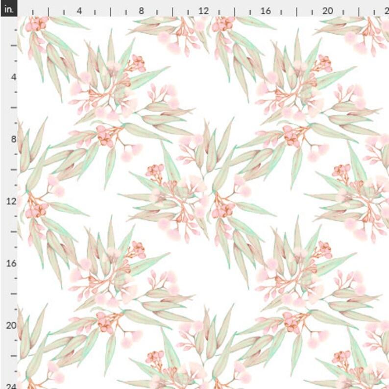 Australian Floral Peel and Stick Wallpaper Pastel Pale Peach Pink Mint Green Botanical Vinyl Free Swatch or Order Custom Rolls