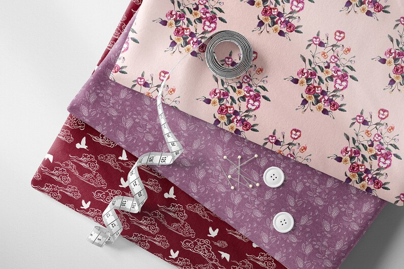 Swallow Bird Fabric by the yard Swooping Bird Blush Pink Soft Peach Printed Fabric Organic Cotton Free Ship Worldwide Ships from USA