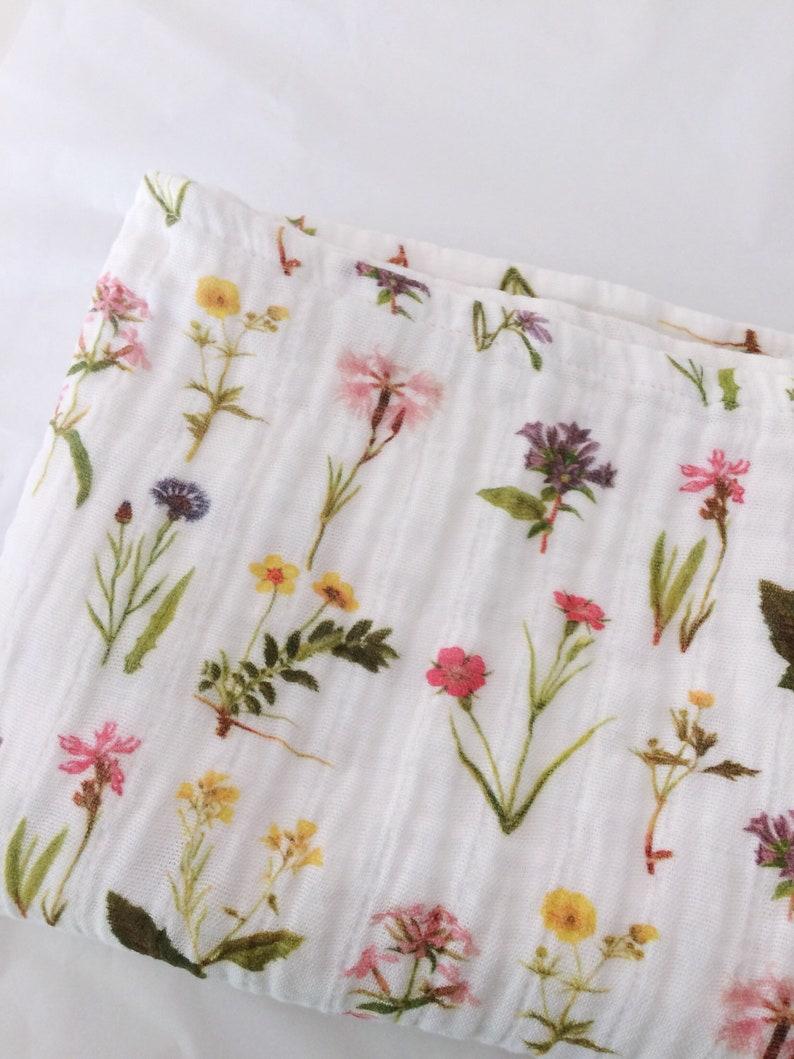 Organic Cotton Muslin Baby Wrap, Vintage Wildflowers  Swaddle Cloth   Certified Organic  Thistle and Fox Fabrics, Custom Printed