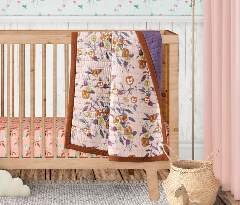 Cotton Sateen Wholecloth Quilt 170 x 130cm Kids Quilt Autumn Floral Watercolour Peach Wildflowers Ships in 6 weeks CUSTOM STYLE 1