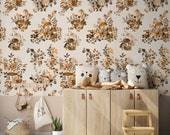 Woodland Mushrooms Botanical Wallpaper, Eco Friendly Water Activated Wallpaper or Peel & Stick Self Adhesive Fabric Paper for Drawer Liners