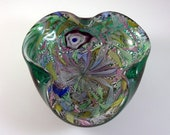 AVeM Murano Emerald Green Latticino Ribbons Tutti Fruiti Art Glass Bowl Ashtray