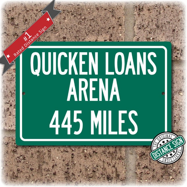 Personalized Highway Distance Sign To Quicken Loans Arena Etsy