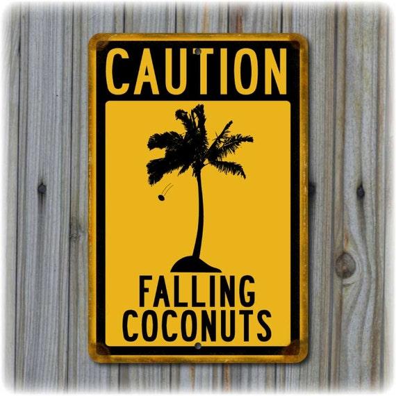 METAL SIGN 8X12 LUAU TIKI BAR BEACH HOT TUB *FALLING COCONUTS* MADE IN HAWAII