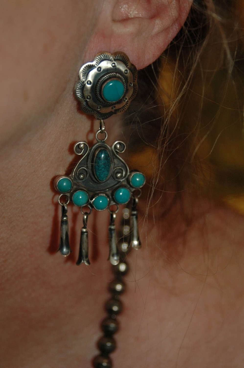 Squash Blossom Concho Earrings Red and Silver