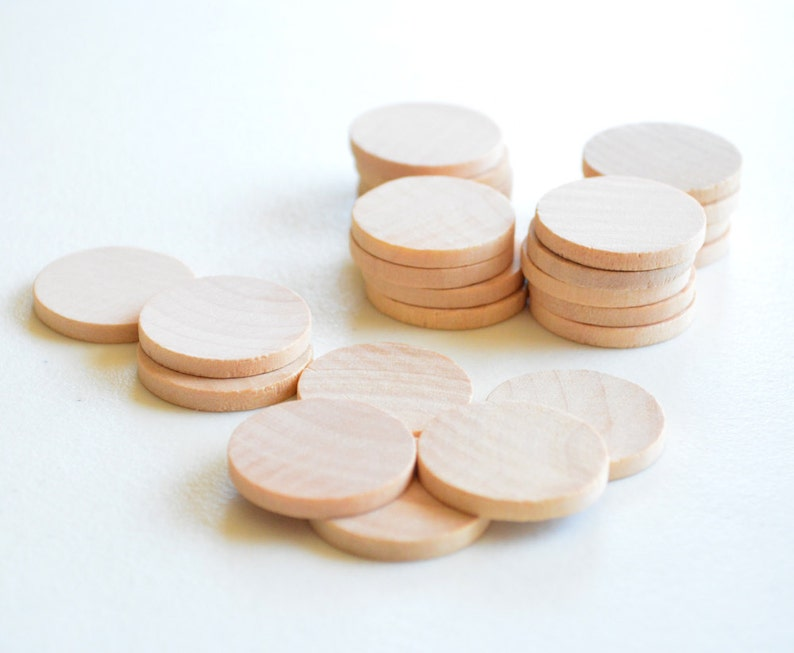 25 Unfinished Wooden Circles 1 Small Wooden Circles Wooden Circles Supplies Natural Wood Circles Wood Circles Beads