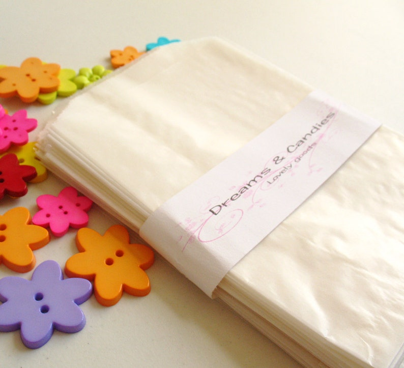 Candy Bags Wedding Favor Bags Small glassine bags Packing Bags White Glassine Bags 75 Glassine Paper Bags Size 4 34 x 6 34