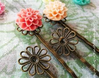 12 Filigree Bobby Pins Hair ornaments Antique Bronze, Flower 2x59x2mm