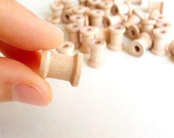 """50 Miniature Wooden Spools  5/8""""x1/2"""" -Wooden Spools Decorative -Small Spools -Natural Wooden Spools"""