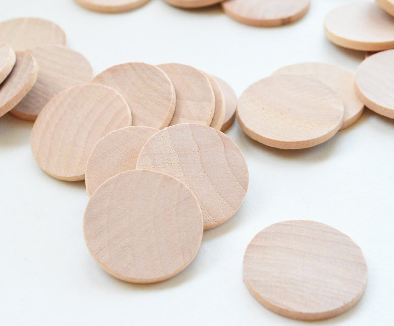 25 Unfinished Wooden Circles 125 Small Wooden Circles Wooden Circles Supplies Natural Wood Circles Wood Circles Beads