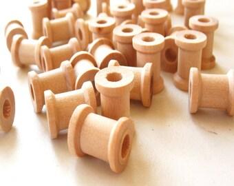 """100 Miniature Wooden Spools  5/8""""x1/2"""" -Wooden Spools Decorative -Small Spools -Natural Wooden Spools"""