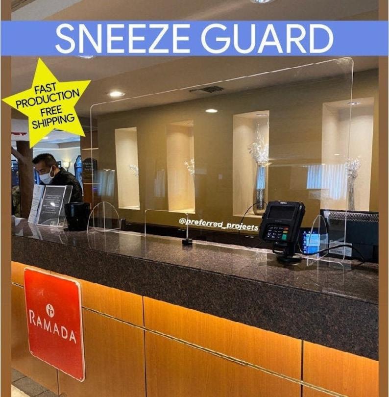 Counter Sneeze Guard. Plexiglass Dentist Office Reception image 1