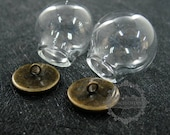 6pcs round vintage style bronze bulb vial glass bottle with 20mm open mouth DIY pendant charm supplies 1810424