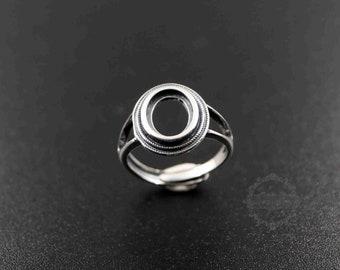 1pcs 12MM round bezel 925 sterling silver ring setting bezel basic ring size diameter 18mm DIY adjustable ring setting 1212031