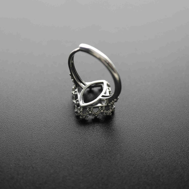 1Pcs 12MM Antiqued Style Solid 925 Sterling Silver Square Cabochon Flower Bezel Adjustable Ring Settings DIY Jewelry Supplies 1294143