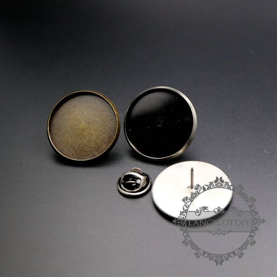 5sets 20mm setting size with glass dome cover vintage bronze,antiqued silver round DIY brooch supplies findings 1582050
