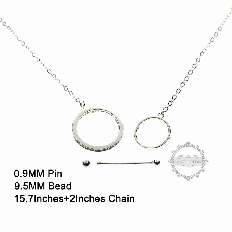 1pcs 9.5mm round bead setting planetary double circles  screwed pin solid 925 sterling silver DIY pendant charm necklace 6360507