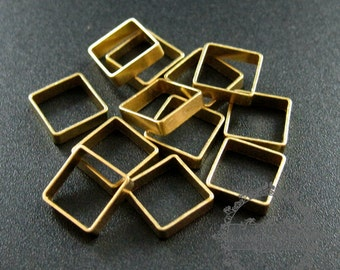 20pcs 8x2.2mm vintage style raw brass square DIY pendant charm wire supplies findings 1800200