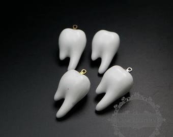 6pcs 15x17x27mm white ceramic tooth with bronze,silver,gold bail fashion women pendant charm supplies 1800280