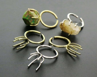 5Pcs 15MM long prong irregular stone adjutable brass ring settings DIY supplies 1294137