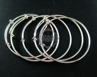 5pcs 50mm diameter silver plated brass simple wiring bracelet for beading 1900100