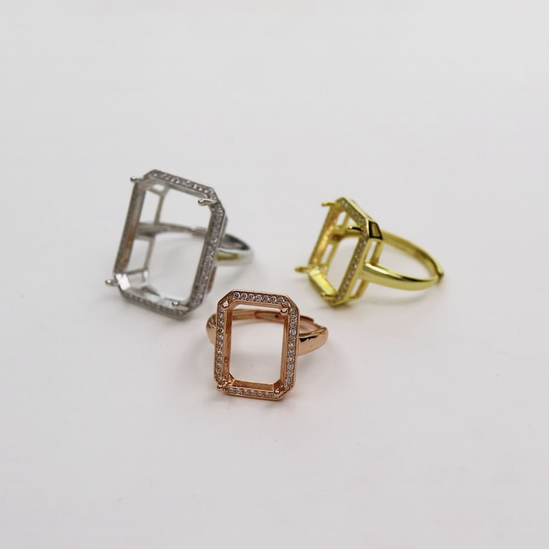 1Pcs Multiple size rectangle silver rose gold Gemstone CZ stone big  prong bezel solid 925 sterling silver adjustable ring settings 1294151