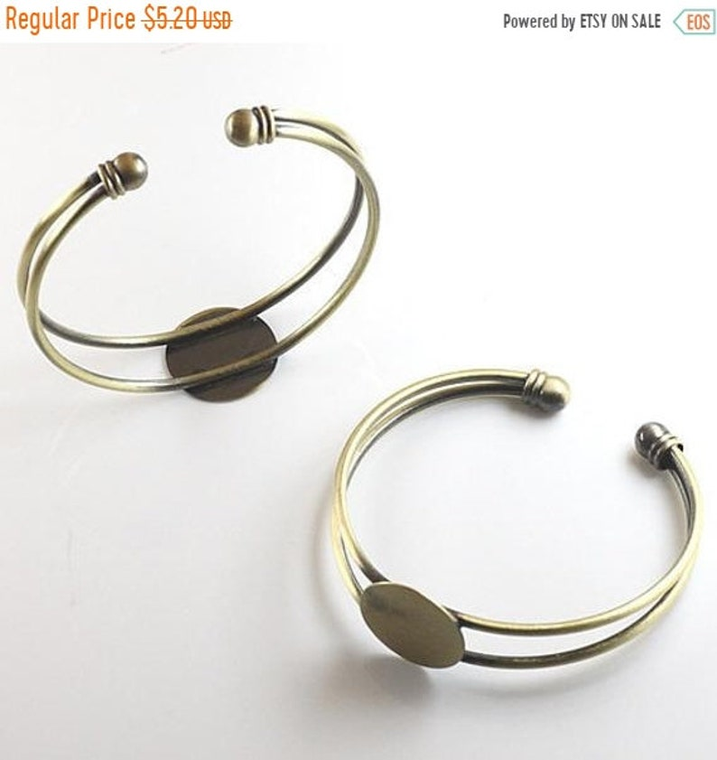 2pcs antique silver  bracelet with 14mm tray  jewellery making craft UK