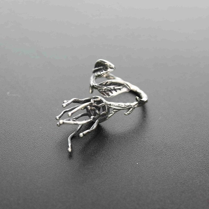 1Pcs 8.5mm bezel 20mm branch claw irregular stone vintage style solid 925 sterling silver antiqued leaf adjustable ring settings 1294128
