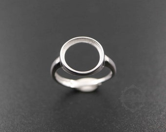 1pcs 8-14MM round bezel 925 sterling silver ring setting bezel basic ring size diameter 18mm DIY adjustable ring setting 1212034