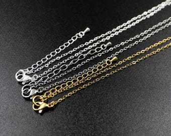 6pcs 18inches 1.5x2mm rhodium,silver,gold color 316L stainless steel basic necklace chain DIY supplies 1320001