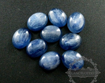 6pcs 8x10mm blue kyanite oval cabochon special jewelry findings supplies for ring,earrings 4120101