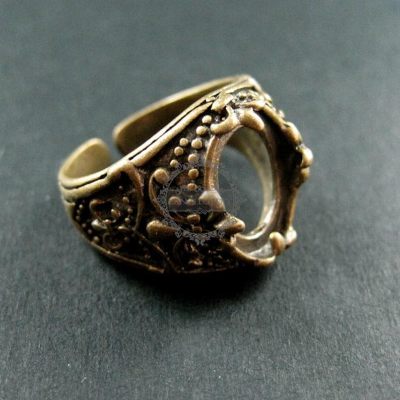 5pcs 10x14mm setting oval bezel vintage style antiqued silver,bronze brass fluer de lis flower adjustable ring base bezel supplies 1210013