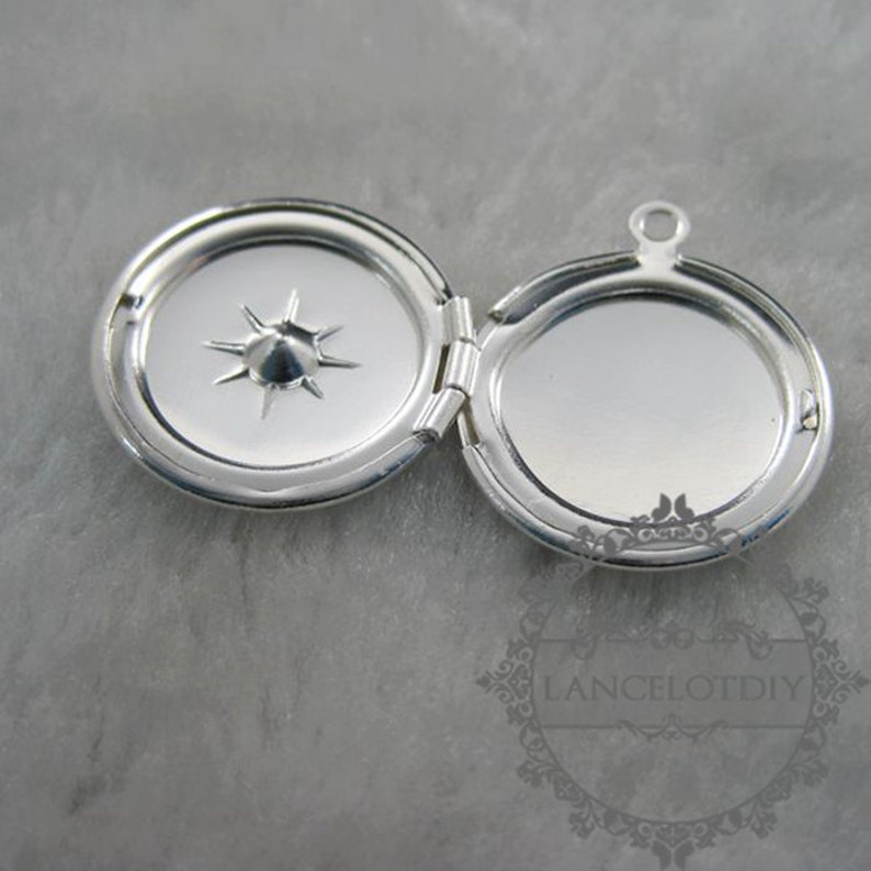 5pcs 21mm silver plated brass round photo locket with 4mm star setting size DIY pendant charm supplies 1112023
