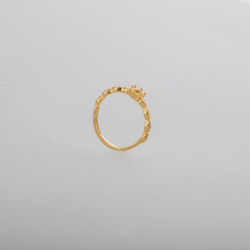 1Pcs 4MM round simple silver rose gold Gemstone CZ stone prong bezel solid 925 sterling silver adjustable ring settings 1210042