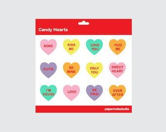 Candy Hearts - Digital Clip Art Set (INSTANT DOWNLOAD)