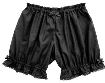 Lolita Bloomers for Women, Black Poly Cotton Lace Shorts