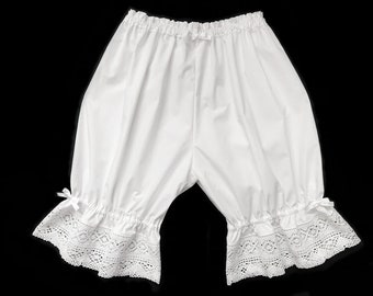 Extra Long White Lace Lolita Bloomers for Women, Victorian Cotton Lace Shorts