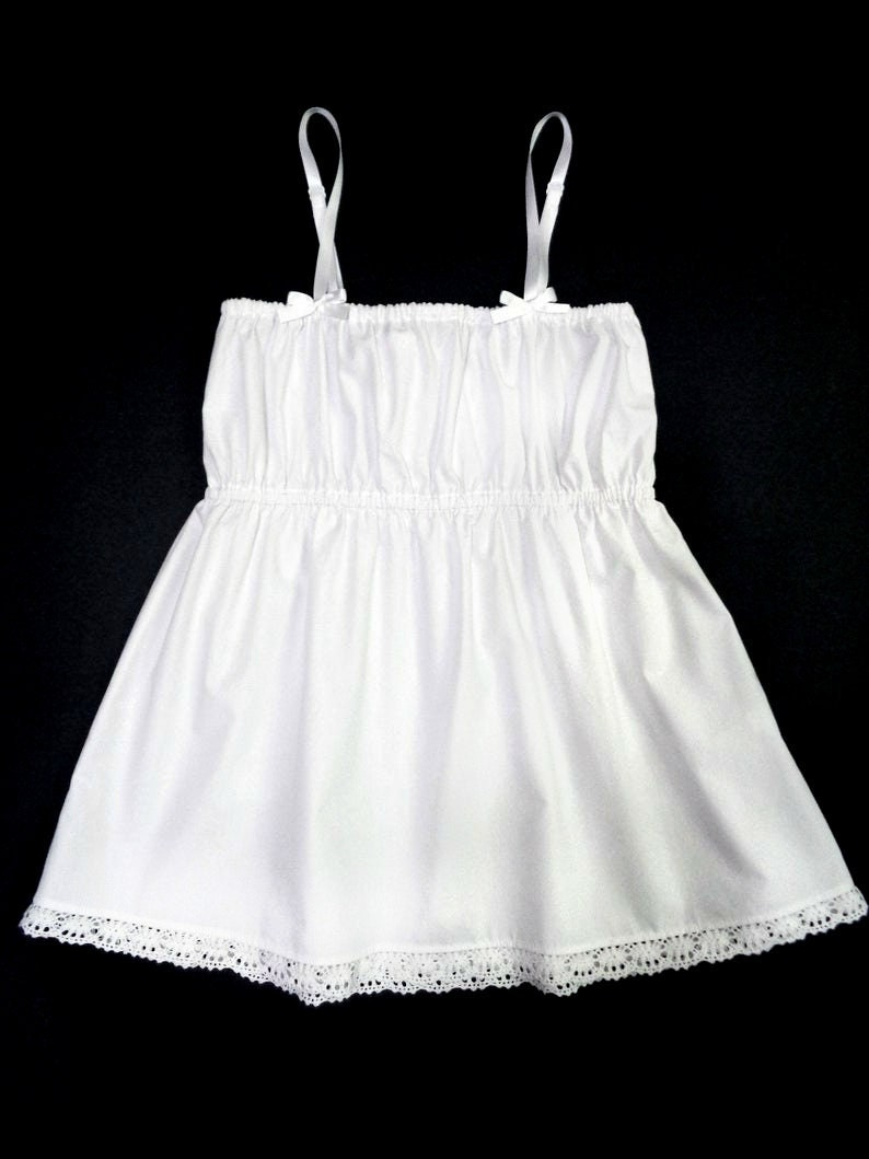 Vintage Lingerie | New Underwear, Bras, Slips White Cotton Camisole with Lace / Camisole Tops / Pajama Top / Womens Camisole $50.00 AT vintagedancer.com