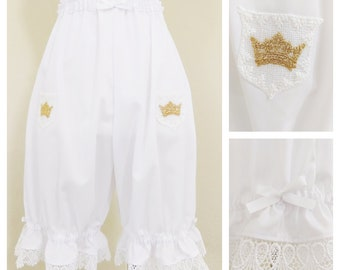 Angelic Crown Lolita Bloomers for Women, White Lace Shorts