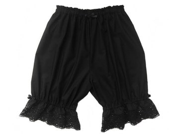 Extra Long Black Lace Gothic Lolita Bloomers for Women, Victorian Cotton Lace Shorts