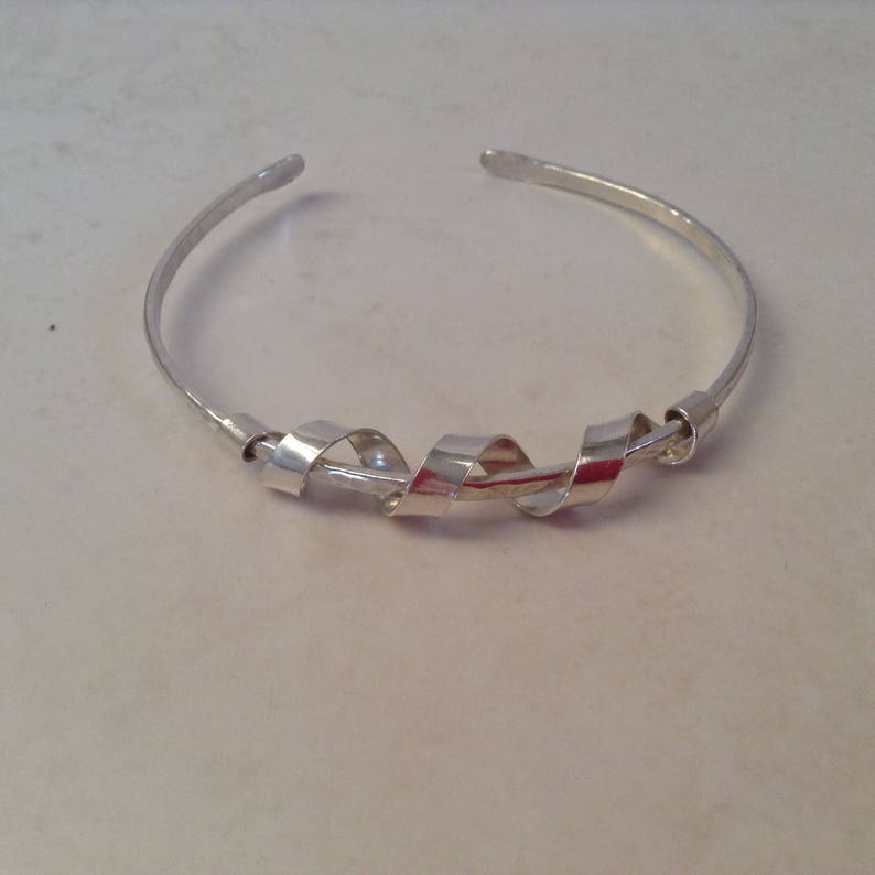 c4340de372e80 Silver Open Stacking Layering Bangle Bracelet with Coil Feature UK  Contemporay Sterling Silver Jewellery